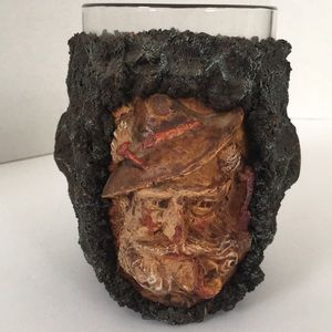 Mug made out of tree bark and wood/glass insert